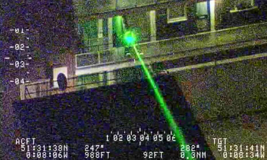 Police picture showing a laser being pointed at a police helicopter