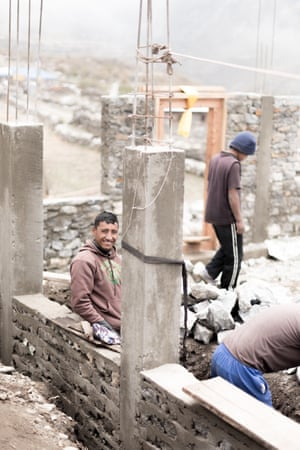 Tashi is part of the team constructing a new guest house