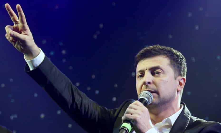 Volodymyr Zelenskiy hosting a comedy show in Brovary, Ukraine.