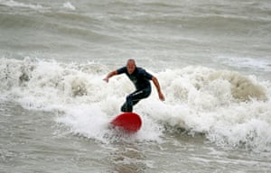 A surfer in Eastbourne, East Sussex