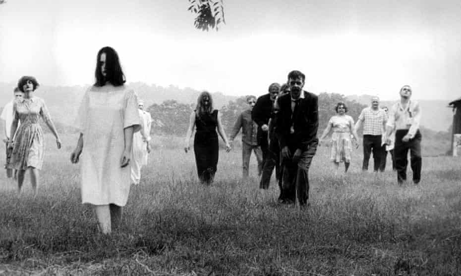 A zombie scene from George Romero's 1968 movie Night of the Living Dead.