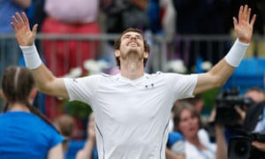 Andy Murray celebrates after completing his comeback against Milos Raonic to win the final at Queen's Club