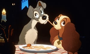 Still from spaghetti scene of Lady and the Tramp