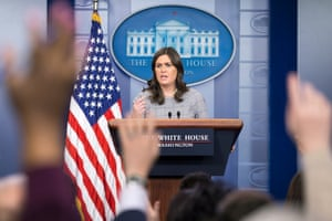 Sarah Huckabee Sanders holds a news conference at the White House.