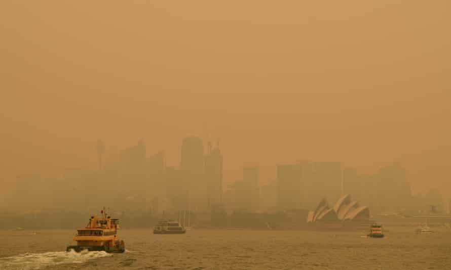 Sydney shrouded in dirty orange smoke haze