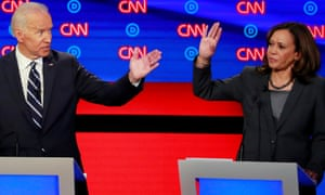 Joe Biden and Kamala Harris gesture on the second night of the second Democratic debate in Detroit, in July.