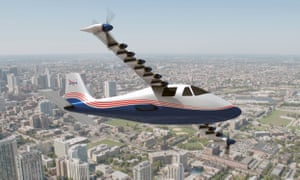 Nasa's X-57 quiet hybrid electric research plane, with 14 electric motors turning the propellers on the wings