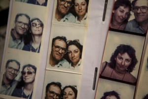 Alan Adler and his wife pose in a booth