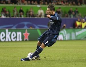 Real Madrid's Cristiano Ronaldo slips.