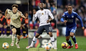 Manchester United's Daniel James, Spurs' Tanguy Ndombele and Leicester City's Youri Tielemans. Photographs by Getty Images and PA.