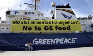 Greenpeace ship the Esperanza moored in Cartagena Spain with an anti GM food banner on its side