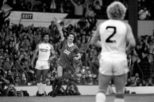 Ian Rush celebrates during Liverpool's 6-0 drubbing of Luton at Anfield in 1983.