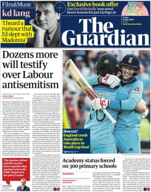Guardian home page, Friday 12 July 2019