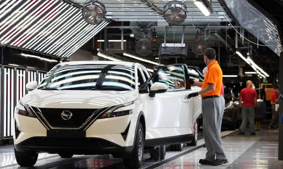 Workers on the production line at Nissan's Sunderland plant