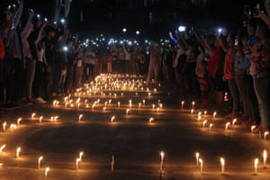 Protesters holding a candlelit demonstration in Mogok in the Mandalay division