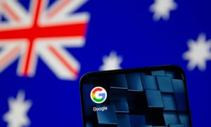 phone with the google app logo in front of the Australian flag
