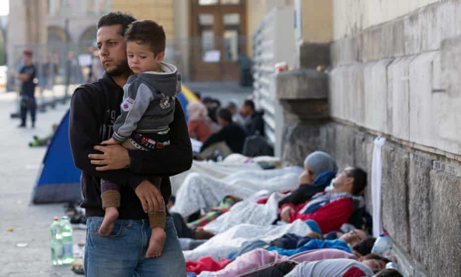 Migrants sleep outside Keleti station which remains closed to them in central Budapest. 'There is no respectable Christian argument for fortress Europe, surrounded by a new iron curtain of razor wire to keep poor, dark-skinned people out.'