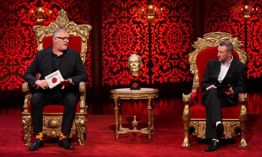 Taskmasters ... Greg Davies and Alex Horne in their thrones.