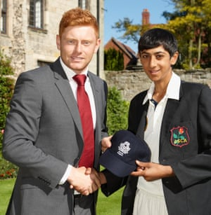 Hameed receiving his North Region English Schools cap from Jonny Bairstow in 2012.