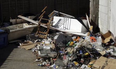A pile of fly-tipped rubbish in a north London street