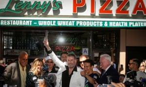 Actor John Travolta outside Lenny Pizza.