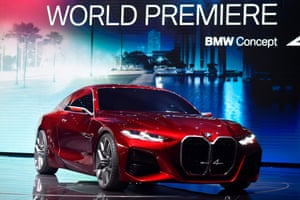 The BMW Concept 4 car is displayed at the booth of German carmaker BMW on September 10, 2019, during the press days of the International Auto Show (IAA) in Frankfurt am Main, western Germany
