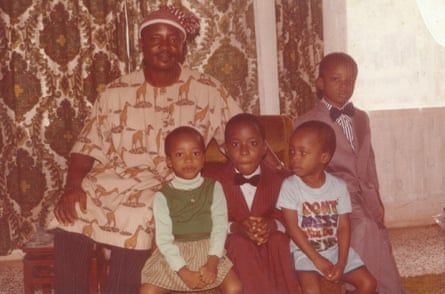 Adaobi Tricia Nwaubani with her father and brothers in Umuahia in the early 1980s