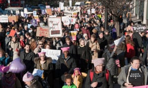 Women march in London to protest against Donald Trump on the day after he became US president.