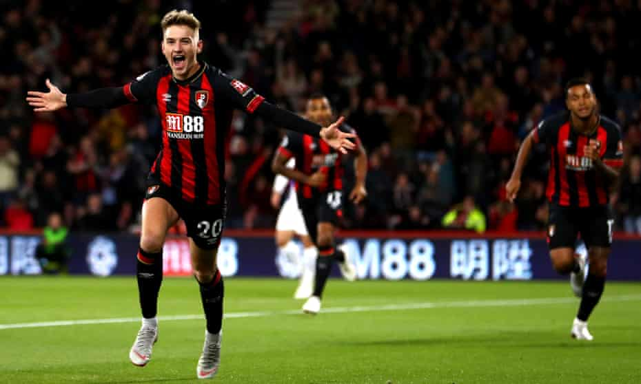 David Brooks celebrates after scoring for Bournemouth against Crystal Palace in October. Eddie Howe's team's passing game has proved a perfect fit for his talents so far.