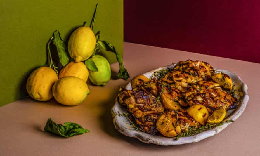 Diana Henry's Griddled chicken with thyme and sea salt Chosen by Nigel Slater Food and prop styling: Polly Webb Wilson The Dish I Can't Live Without Observer Food Monthly OFM January 2018