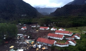 Part of the town of Villa Santa Lucia near Chaiten in southern Chile that was devastated by a landslide that left five dead and 15 missing