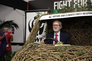 Brighton, UKJeremy Corbyn sits in a wicker car at the WWF stand on the third day of the Labour party conference, where delegates will debate and vote on their Brexit position pitting the Labour leader's neutral stance against the party membership's wish to remain in the EU