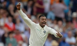 The medium-pacer Hardik Pandya celebrates dismissing the England captain, Joe Root, the first of his five first-innings victims.