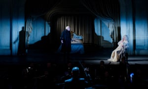 Peter Wedd as Herman and Rosalind Plowright as the Countess in The Queen of Spades at Opera Holland Park, London.