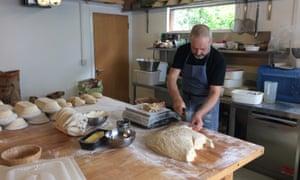 Joe Fitzmaurice makes bread in Riot Rye bakery.