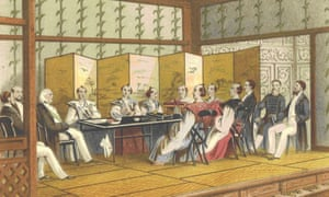 A sketch of the Earl of Elgin's mission meeting Japanese commissioners, 1859.