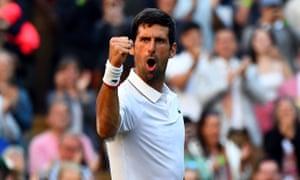 Novak Djokovic celebrates his win over Denis Kudla.