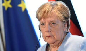 Angela Merkel at a press conference in The Hague.