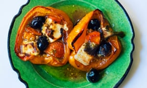 Inside story: baked peppers with tomatoes and feta.