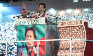 Imran Khan addressing supporters  at a rally in Multan in Punjab on Friday.