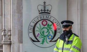 A police officer outside the UK supreme court.