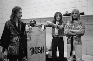 Rush backstage in Springfield, Massachusetts, 9 December 1976 during their All The World's a Stage tour.