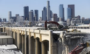 Demolition of Sixth Street Bridge in downtown LA this month.
