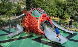Monster Chetwynd's playground in the shape of a giant gorgon's head in Maçka Sanat park