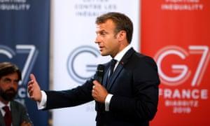 Emmanuel Macron at the G7 summit in Biarritz