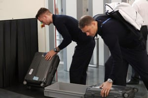 Manuel Neuer and Marco Reus depart Moscow after Germany's elimination.