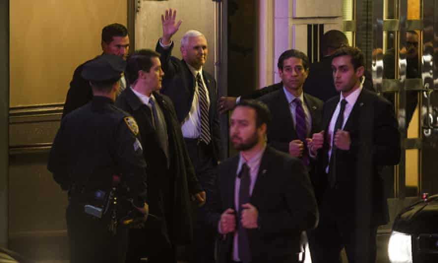 Mike Pence leaves the Richard Rodgers Theatre in New York after watching Hamilton.