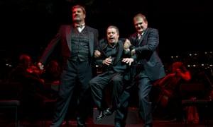 Michael Druiett (Wotan), Nicholas Folwell (Alberich) and Wolfgang Ablinger-Sperrhacke as Loge in Opera North's concert performance of Das Rheingold, June 2011.