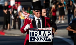 A Trump supporter at a campaign event in Beverly Hills, California on 17 September 2019.