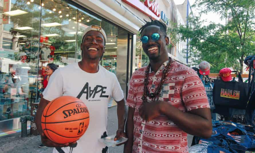 Two cool basketball players in LA street